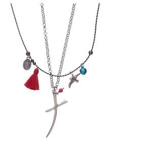 Necklace with chain, stylized cross and red tassel s2