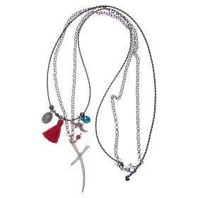 Necklace with chain, stylized cross and red tassel s3