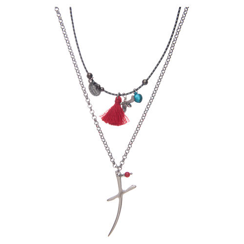 Necklace with chain, stylized cross and red tassel 1