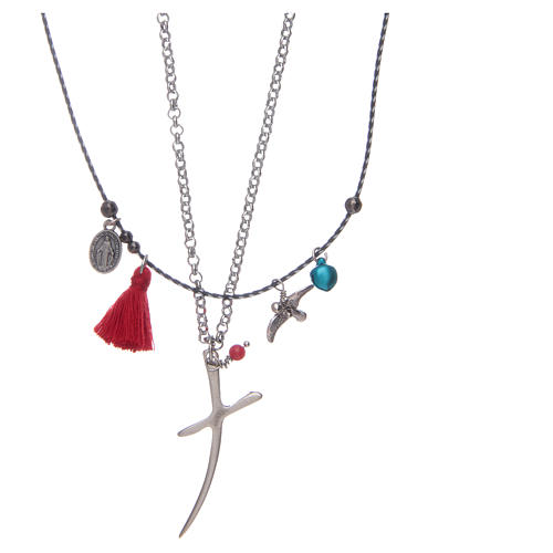 Necklace with chain, stylized cross and red tassel 2