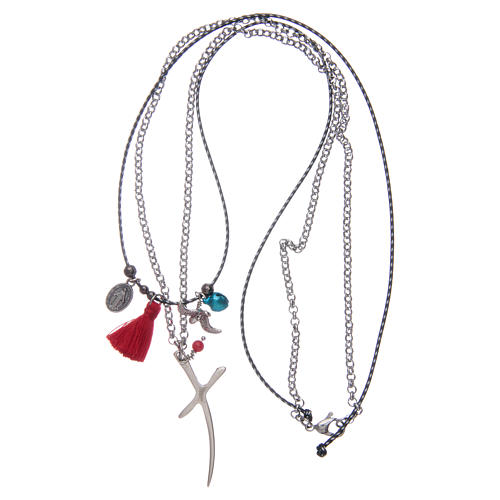 Necklace with chain, stylized cross and red tassel 3