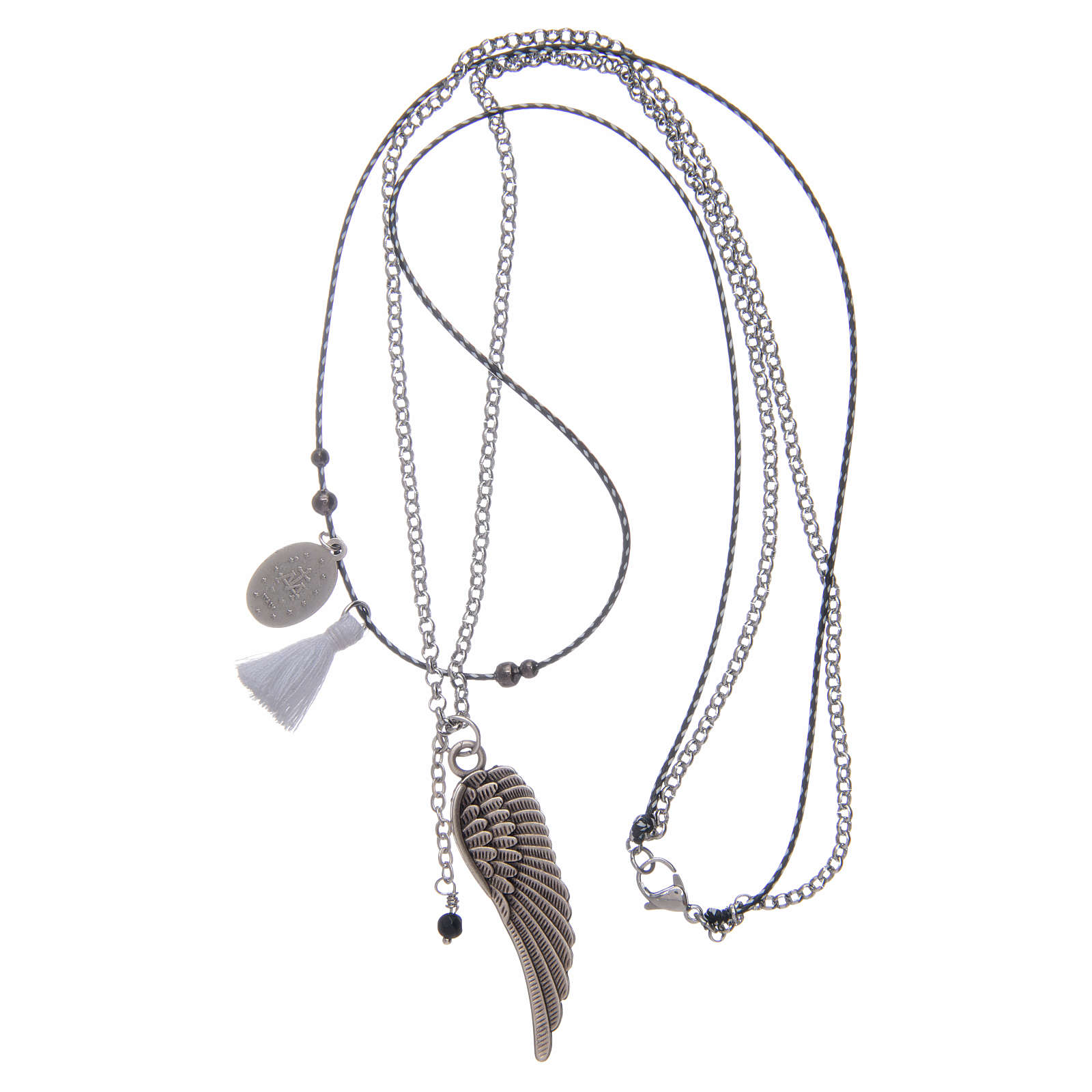Necklace with angel's wing and white tassel 4