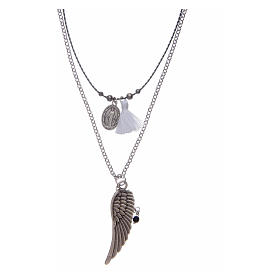 Necklace with angel's wing and white tassel s1
