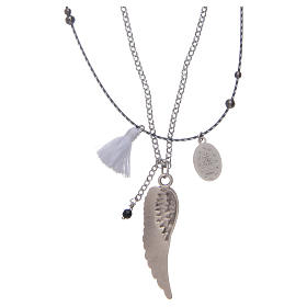 Necklace with angel's wing and white tassel s2