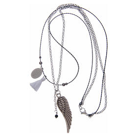 Necklace with angel's wing and white tassel s3