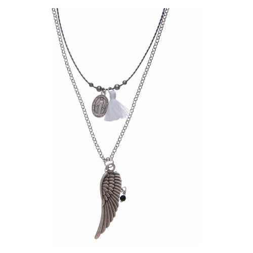 Necklace with angel's wing and white tassel 1