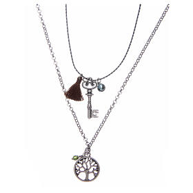 Necklace with Tree of Life and brown tassel s1