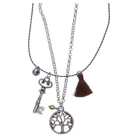 Necklace with Tree of Life and brown tassel s2