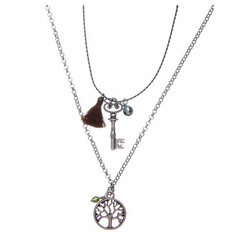 Necklace with Tree of Life and brown tassel 1
