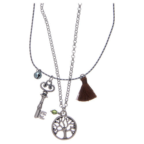 Necklace with Tree of Life and brown tassel 2
