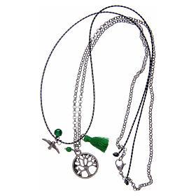 Collana con albero della vita nappina verde s3