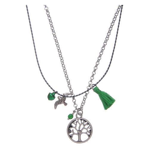 Collana con albero della vita nappina verde 2
