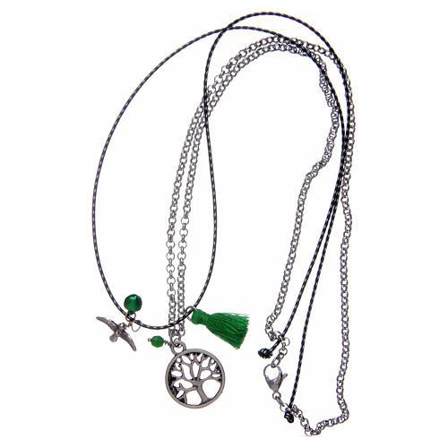 Collana con albero della vita nappina verde 3