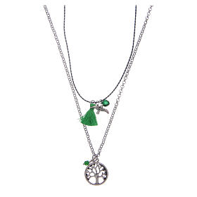 Necklace with Tree of Life and green tassel s1