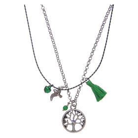 Necklace with Tree of Life and green tassel s2