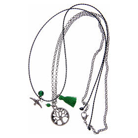 Necklace with Tree of Life and green tassel s3