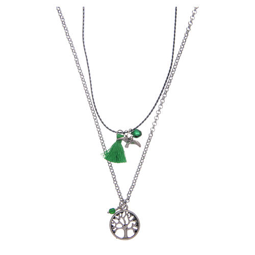 Necklace with Tree of Life and green tassel 1