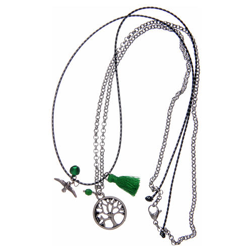 Necklace with Tree of Life and green tassel 3