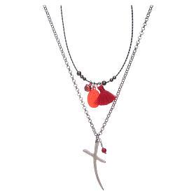 Collana con croce e medaglia miracolosa nappina rossa s1