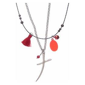 Collana con croce e medaglia miracolosa nappina rossa s2