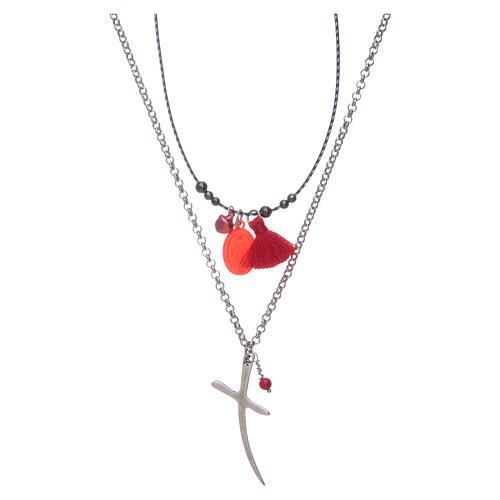 Collana con croce e medaglia miracolosa nappina rossa 1