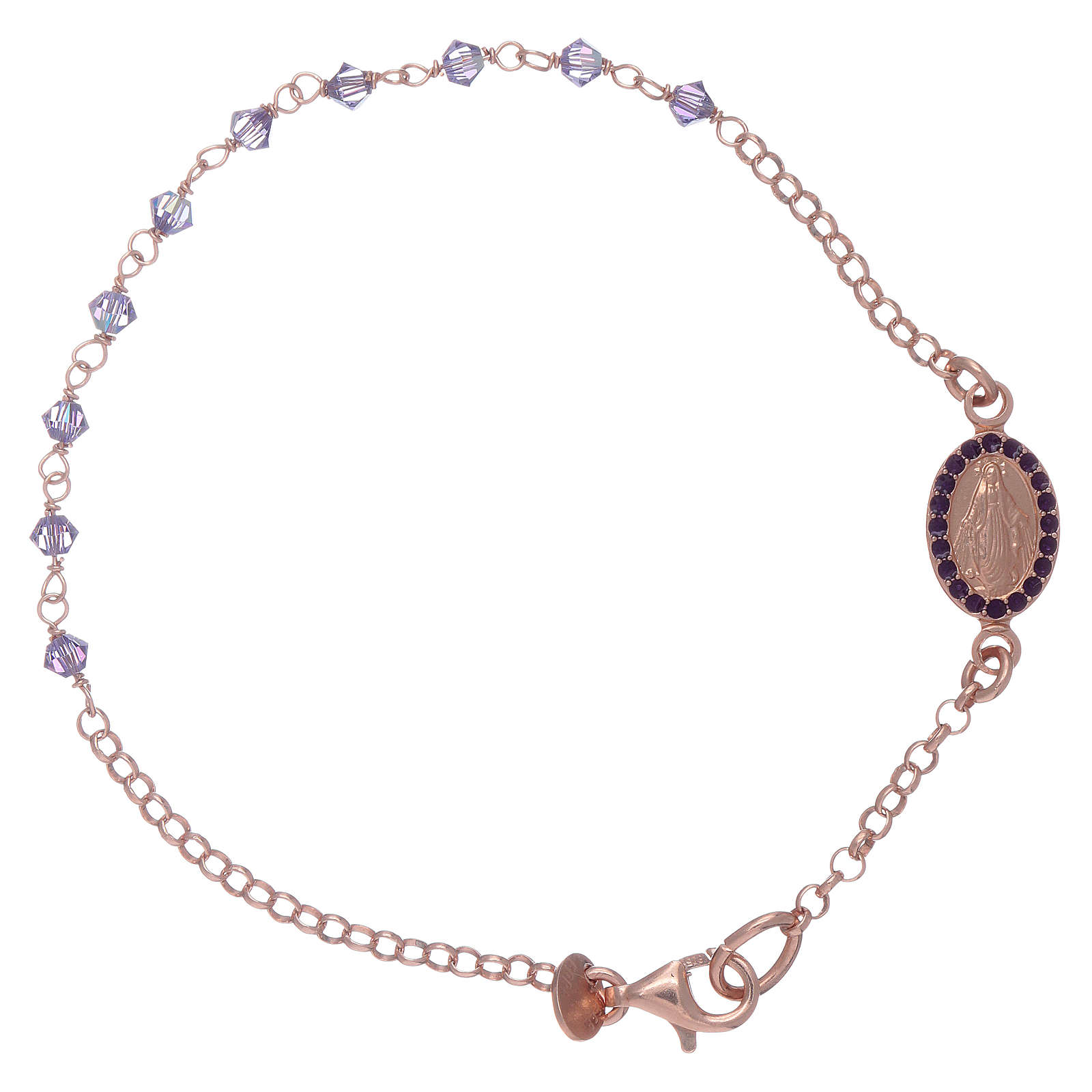 Miraculous medal bracelet in sterling silver with Swarovski crystals 2mm 4
