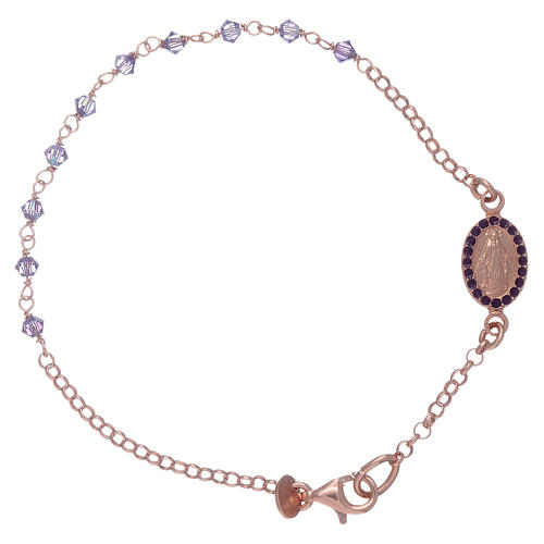 Miraculous medal bracelet in sterling silver with Swarovski crystals 2mm 1