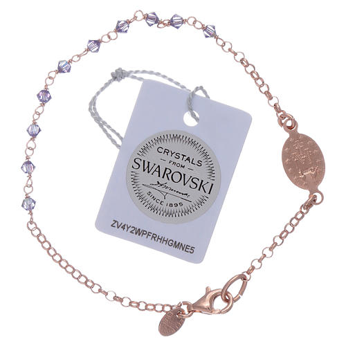 Miraculous medal bracelet in sterling silver with Swarovski crystals 2mm 2