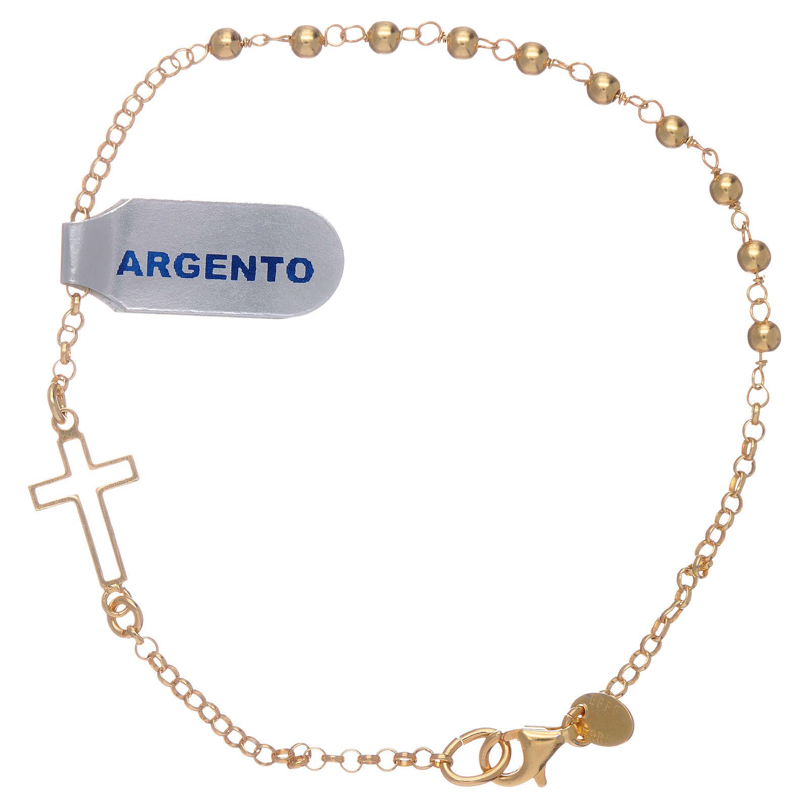 Bracciale argento lucido 925 con sfere e croce color oro 4