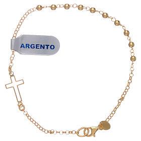 Bracciale argento lucido 925 con sfere e croce color oro s1