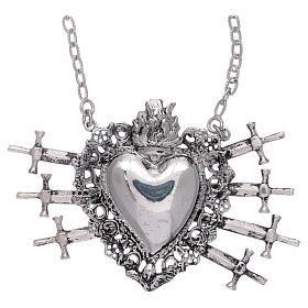 Choker in 925 sterling silver with votive heart and seven swords drilled s1
