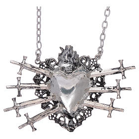 Choker in 925 sterling silver with votive heart and seven swords drilled s2
