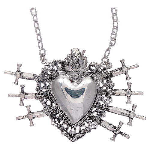 Choker in 925 sterling silver with votive heart and seven swords drilled 1