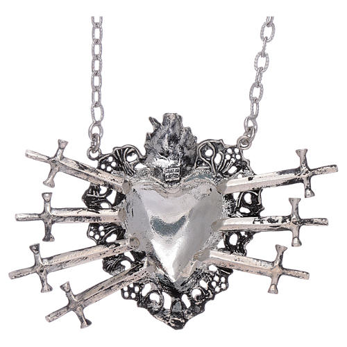 Choker in 925 sterling silver with votive heart and seven swords drilled 2