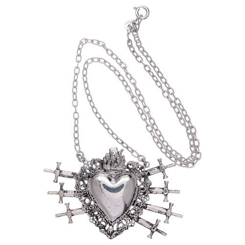 Choker in 925 sterling silver with votive heart and seven swords drilled 3