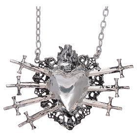 Gargantilla con corazón votivo y siete espadas plata 925