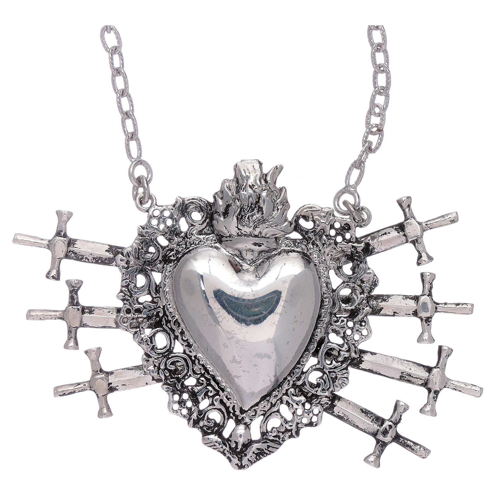 Girocollo con cuore votivo e sette spade argento 925 4