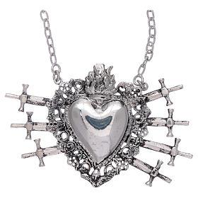 Girocollo con cuore votivo e sette spade argento 925 s1