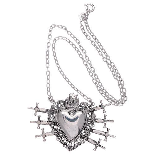 Girocollo con cuore votivo e sette spade argento 925 3