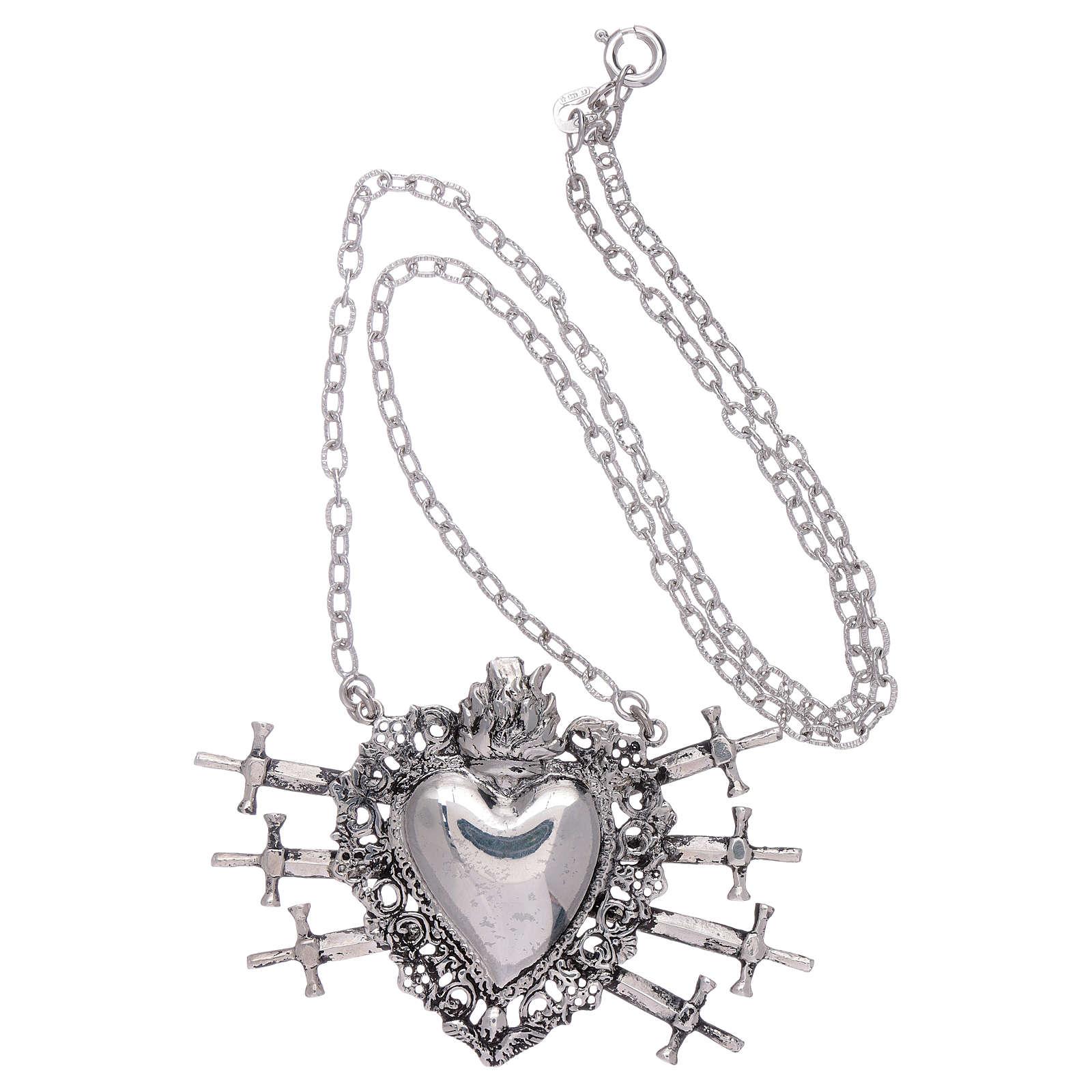 Naszyjnik z sercem wotywnym i siedmioma mieczami srebro 925 4