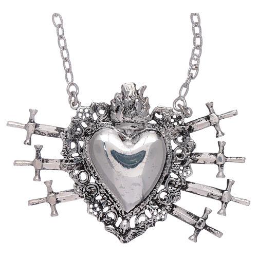 Naszyjnik z sercem wotywnym i siedmioma mieczami srebro 925 1
