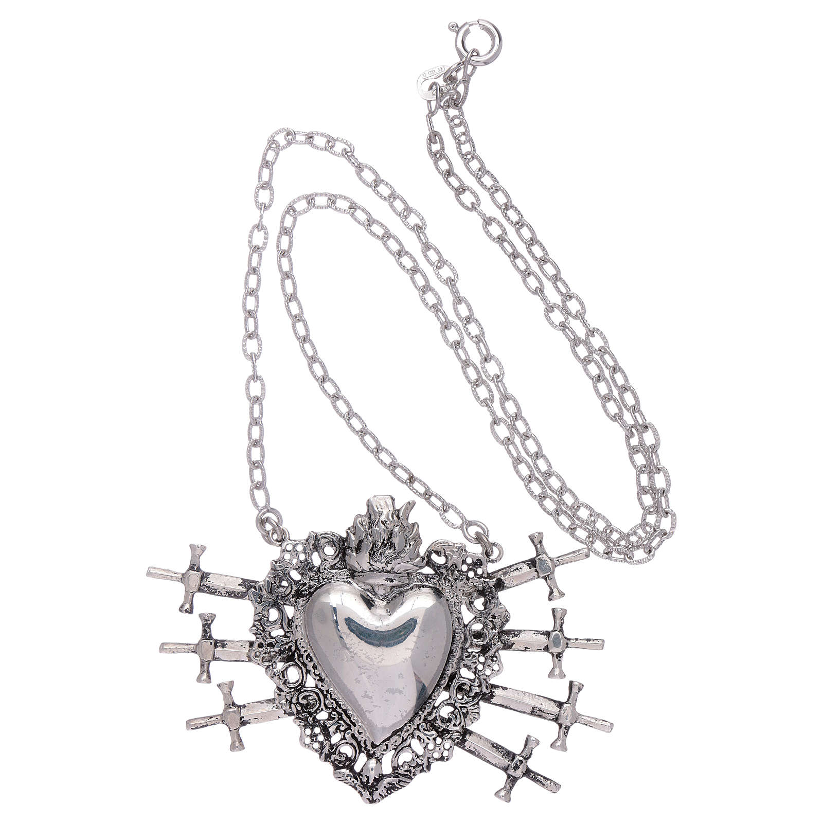 Choker in 925 sterling silver with votive heart and seven swords drilled 4