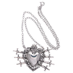 Choker in 925 sterling silver with votive heart and seven swords drilled s3