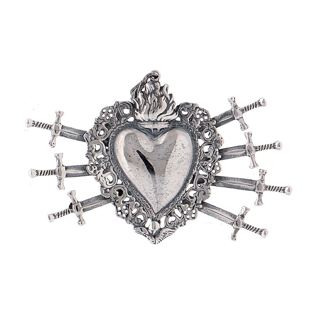 Pendant in 925 sterling silver with votive heart and seven swords drilled 4
