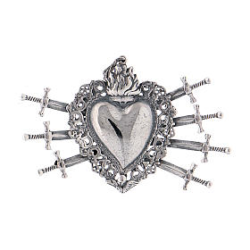 Pendant in 925 sterling silver with votive heart and seven swords drilled s1