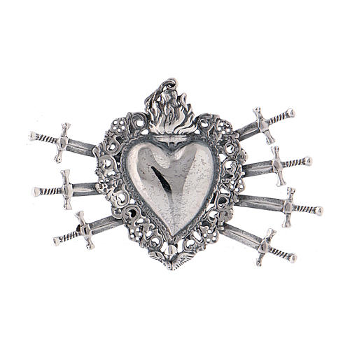 Pendant in 925 sterling silver with votive heart and seven swords drilled 1