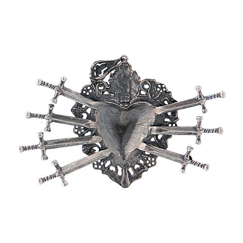 Pendant in 925 sterling silver with votive heart and seven swords drilled 2