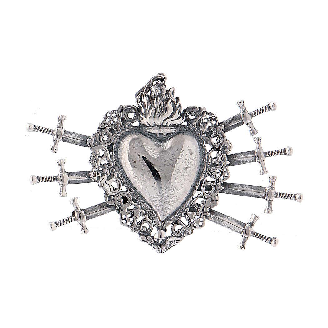 Colgante corazón votivo con siete espadas y perforado plata 925 4