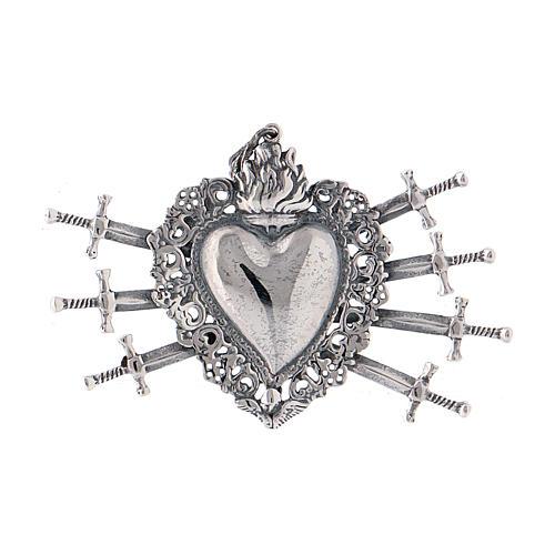 Colgante corazón votivo con siete espadas y perforado plata 925 1