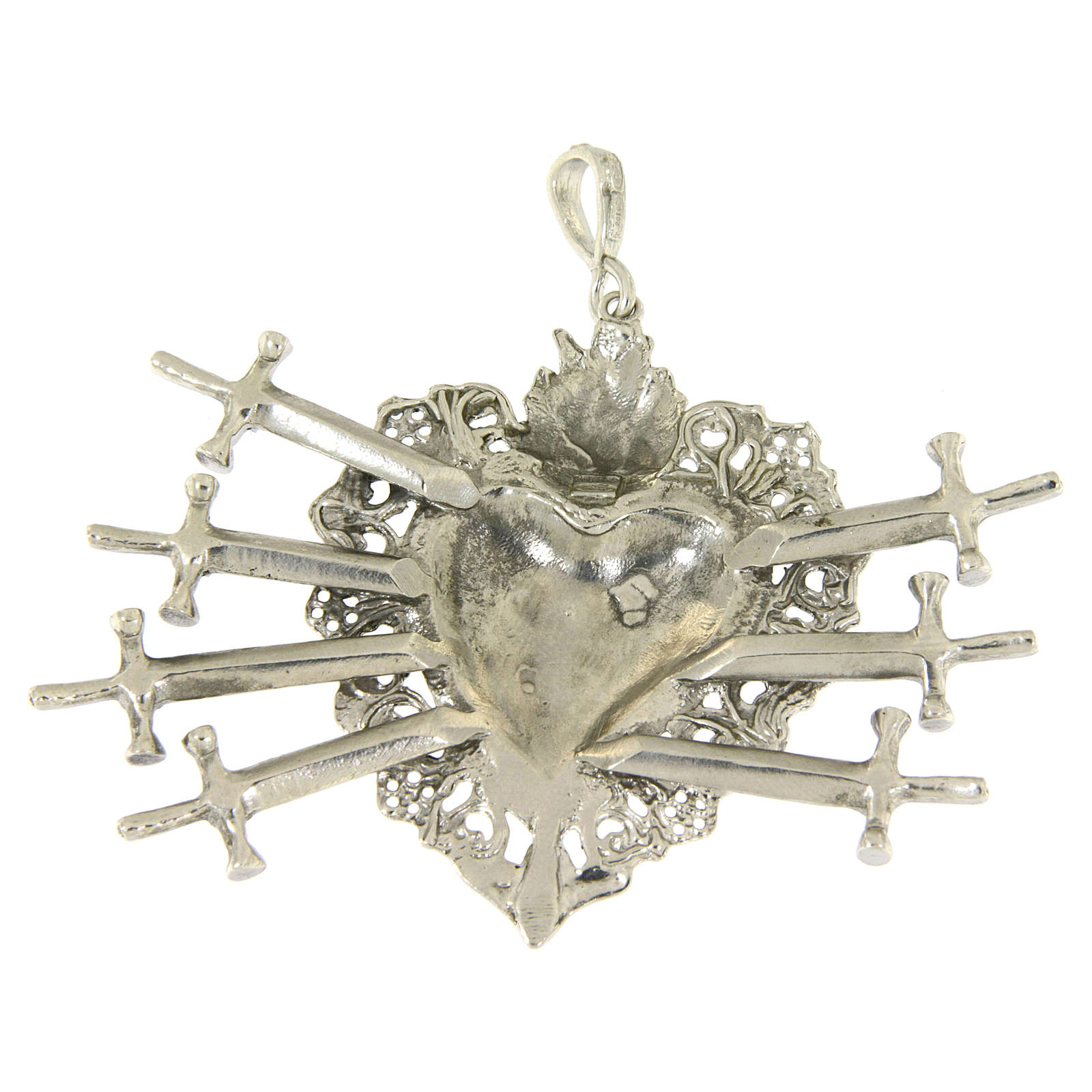 Ciondolo cuore votivo con sette spade e traforato argento 925 4